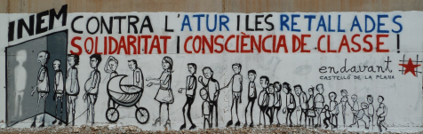 Graffiti-mural contra les retallades