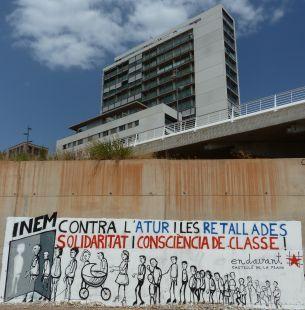 Graffiti contra les retallades socials